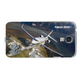 White Samsung Galaxy S4 Cover-Falcon 2000S Over Snowy Mountain