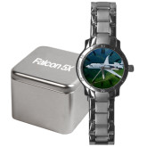 Mens Stainless Steel Fashion Watch-Falcon 5X Over Green Landscape