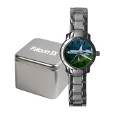 Ladies Stainless Steel Fashion Watch-Falcon 5X Over Green Landscape