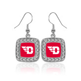 Crystal Studded Square Pendant Silver Dangle Earrings-Flying D
