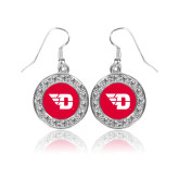 Crystal Studded Round Pendant Silver Dangle Earrings-Flying D