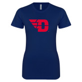 Next Level Ladies SoftStyle Junior Fitted Navy Tee-Flying D