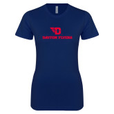 Next Level Ladies SoftStyle Junior Fitted Navy Tee-Dayton Flyers