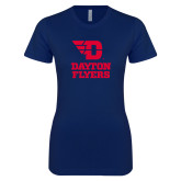 Next Level Ladies SoftStyle Junior Fitted Navy Tee-Dayton Flyers Stacked