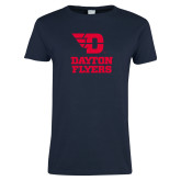 Ladies Navy T Shirt-Dayton Flyers Stacked