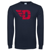 Navy Long Sleeve T Shirt-Flying D Distressed
