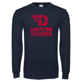Navy Long Sleeve T Shirt-Stacked Dayton Flyers Distressed