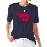 Ladies Under Armour Heather Navy Triblend Tee-Flying D