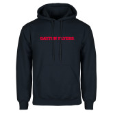 Navy Fleece Hoodie-Athletics Wordmark