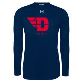 Under Armour Navy Long Sleeve Tech Tee-Football