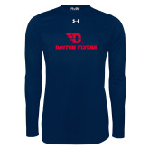 Under Armour Navy Long Sleeve Tech Tee-Dayton Flyers