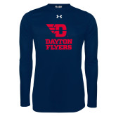 Under Armour Navy Long Sleeve Tech Tee-Dayton Flyers Stacked