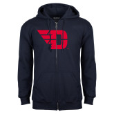 Navy Fleece Full Zip Hoodie-Flying D