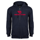 Navy Fleece Full Zip Hoodie-Dayton Flyers