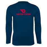 Performance Navy Longsleeve Shirt-Dayton Flyers