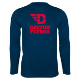 Performance Navy Longsleeve Shirt-Dayton Flyers Stacked
