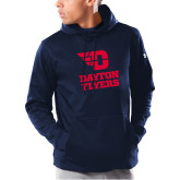 Under Armour Navy Armour Fleece Hoodie-Dayton Flyers Stacked