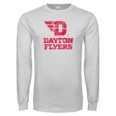 White Long Sleeve T Shirt-Stacked Dayton Flyers Distressed