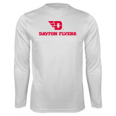 Performance White Longsleeve Shirt-Dayton Flyers