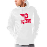 Under Armour White Armour Fleece Hoodie-Dayton Flyers Stacked
