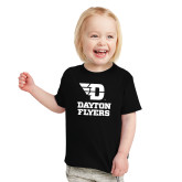Toddler Black T Shirt-Dayton Flyers Stacked
