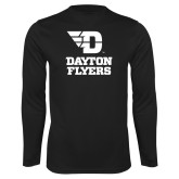 Performance Black Longsleeve Shirt-Dayton Flyers Stacked