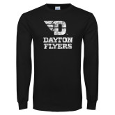 Black Long Sleeve T Shirt-Stacked Dayton Flyers Distressed