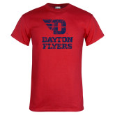 Red T Shirt-Stacked Dayton Flyers Distressed