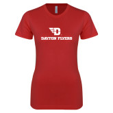 Next Level Ladies SoftStyle Junior Fitted Red Tee-Dayton Flyers
