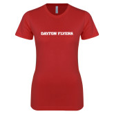 Next Level Ladies SoftStyle Junior Fitted Red Tee-Athletics Wordmark