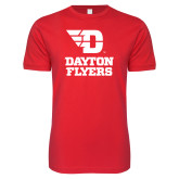 Next Level SoftStyle Red T Shirt-Dayton Flyers Stacked