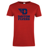 Ladies Red T Shirt-Dayton Flyers Stacked