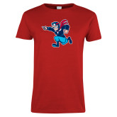 Ladies Red T Shirt-Full Mascot