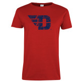 Ladies Red T Shirt-Flying D Distressed