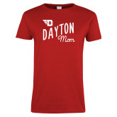 Ladies Red T Shirt-Mom Design