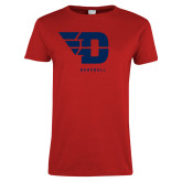 Ladies Red T Shirt-Baseball