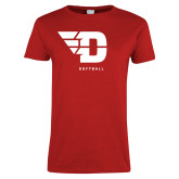Ladies Red T Shirt-Softball