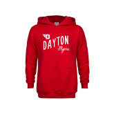 Youth Red Fleece Hoodie-Dayton Flyers Wave Design