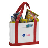 Contender White/Red Canvas Tote-Primary University Logo