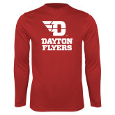 Performance Red Longsleeve Shirt-Dayton Flyers Stacked