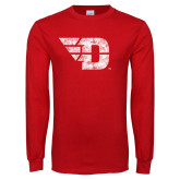 Red Long Sleeve T Shirt-Flying D Distressed
