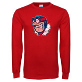 Red Long Sleeve T Shirt-Mascot Distressed