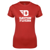 Ladies Syntrel Performance Red Tee-Dayton Flyers Stacked