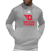 Adidas Grey Team Issue Hoodie-Dayton Flyers Stacked