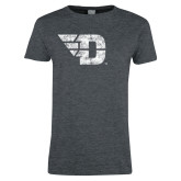 Ladies Dark Heather T Shirt-Flying D Distressed