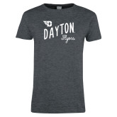 Ladies Dark Heather T Shirt-Dayton Flyers Wave Design