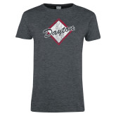 Ladies Dark Heather T Shirt-Distressed Dayton