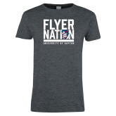 Ladies Dark Heather T Shirt-Flyer Nation