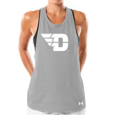 Ladies Under Armour Grey Pinhole Tank-Flying D