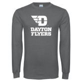 Charcoal Long Sleeve T Shirt-Dayton Flyers Stacked